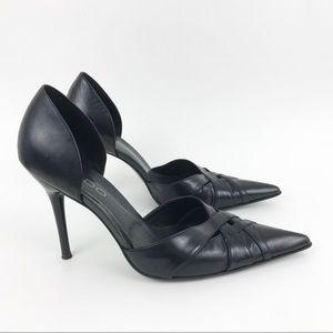 Aldo Black Leather Heels D'Orsay size 37 7
